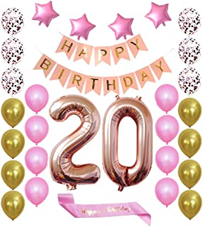 Rose Gold 20th Birthday Decorations Balloon Banner - Happy Birthday Banner, 20 Rose Gold Number Balloons, Rose Gold and Confetti Gold Balloons, Happy Birthday sash, Birthday Decoration Supplies Fancy