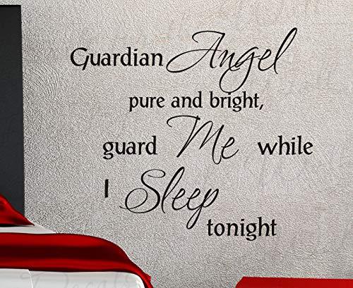 Schutzengel Pure and Bright Guard Me While I Inspirierendes Heim Religiöser Gott Bibel Zitat Decor Sticker Kunst Vinyl Wandtattoo