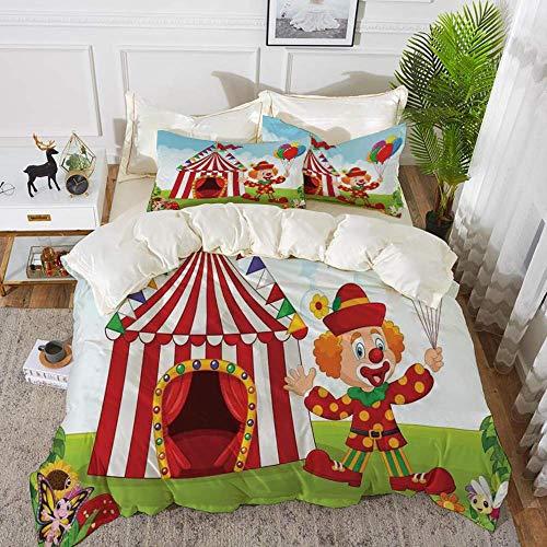 882 Bettbezug Zirkus-Dekor, Zirkuszelt mit Clown, der Ballon im grünen Park-Rasen-Schmetterling hält,1 Bettbezug 220 x 240cm + 2 Kopfkissenbezug 80x80cm