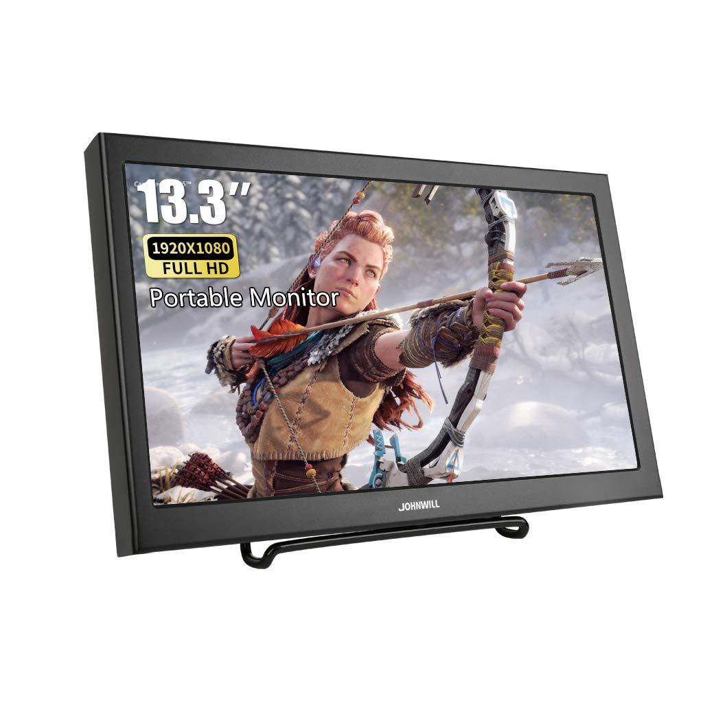 JOHNWILL - Pantalla portátil de 13,3 pulgadas VGA Ultra HD 1920 x 1080 IPS LCD/LED Monitor portátil HDMI VGA Port, altavoz integrado, carcasa de metal negro: Amazon.es: Electrónica
