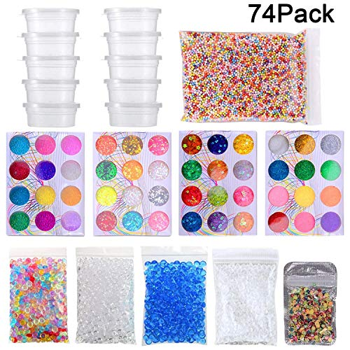 DOMIRE 74Pack Slime Supplies Kit with 20Pcs Slime Containers Fishbowl Beads Glitters Fruit Slices Foam Balls for DIY Slime Making