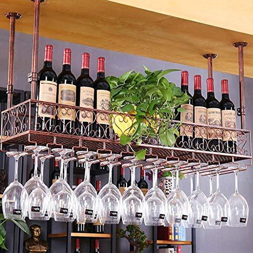 Hblpot-m Estante Antiguo del Vino del Hierro Labrado, Portavasos Ajustable De La Altura del Almacenamiento del Techo Montado 1221jg (Color : Bronze, Size : 120cm*25cm(Hanging 24))