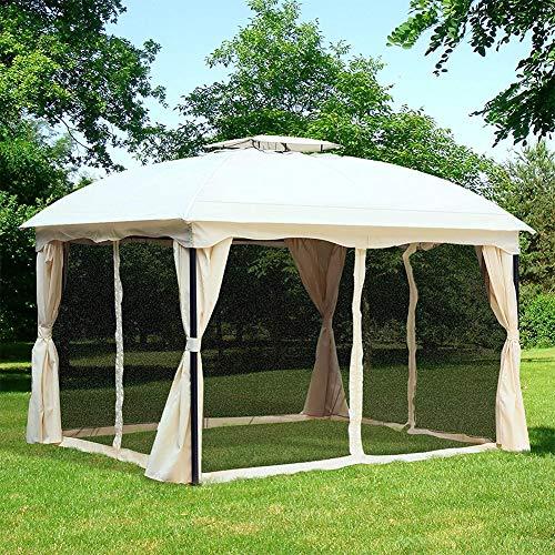 DNNAL Garten-Pavillon, Doppeldachaußen Canopy Marquee Partyzelt Wetter mit Moskitonetz für Villa Hof Sonnenschein Vorstand