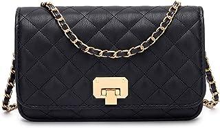 Women Black Quilted Purse Crossbody Designer Shoulder Bag with Chain Strap