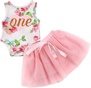 Baby Girls' 1st Birthday Tutu Dress Sleeveless Floral Romper Top Lace Skirt Clothes Easter Outfit 2Pcs