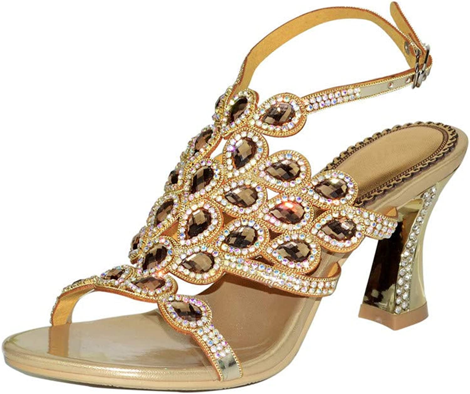 LLBubble High Heels Rhinestone Sandals for Wedding Bridal Open Toe Buckle Strap Leather Prom Evening Party Ladies Sandals GS-L003
