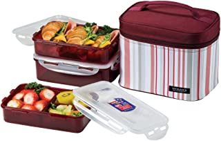 LOCK & LOCK Rectangular Lunch Box 3-Piece Set with Insulated Burgundy Stripe Bag , 8.9 x 5.9 x 6.9 inches - HPL817DP