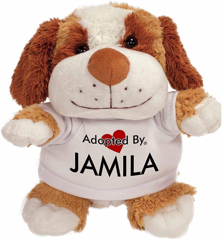 AdoptedBy TB2Jamila Peluche Cane Orsac otto con Un Nome Stampato t-Shirt