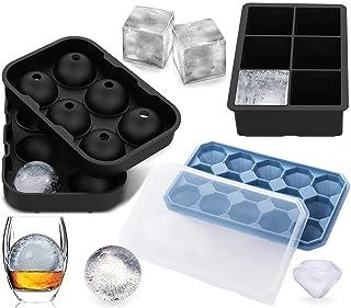 succhi Defrsk per whisky 4 stampi per cubetti di ghiaccio cocktail in silicone con coperchio e imbuto