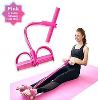 Elastic Sit Up Band, 4 Tube Pedal Ankle Puller Multi-Function Leg Tummy Training Foot Sit-Up Pedal Elastic Pull Rope Fitness Equipment,for Abdomen/Waist/Arm/Leg Stretching Slimming Training