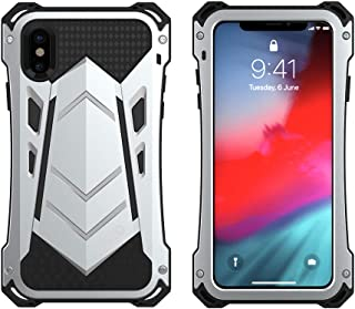 iPhone Xs Case, Armor Aluminum Metal Case Cover Extreme Alloy Metal Bumper Hybrid Soft Rubber Military Heavy Duty Shockproof Outdoor Hard Defender for iPhone Xs Case 5.8 inch 2018 Feitenn - S Silver
