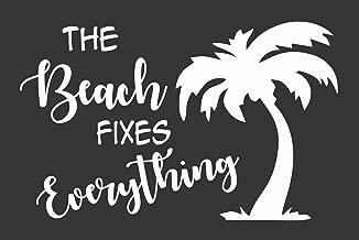 Barking Sand Designs Beach Fixes Everything Ocean Palm Tree - Die Cut Vinyl Window Decal/Sticker for Car/Truck