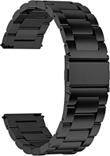 Fullmosa Quick Release Watch band, Stainless Steel Watch strap 16mm, 18mm, 20mm, 22mm or 24mm, 20mm Black