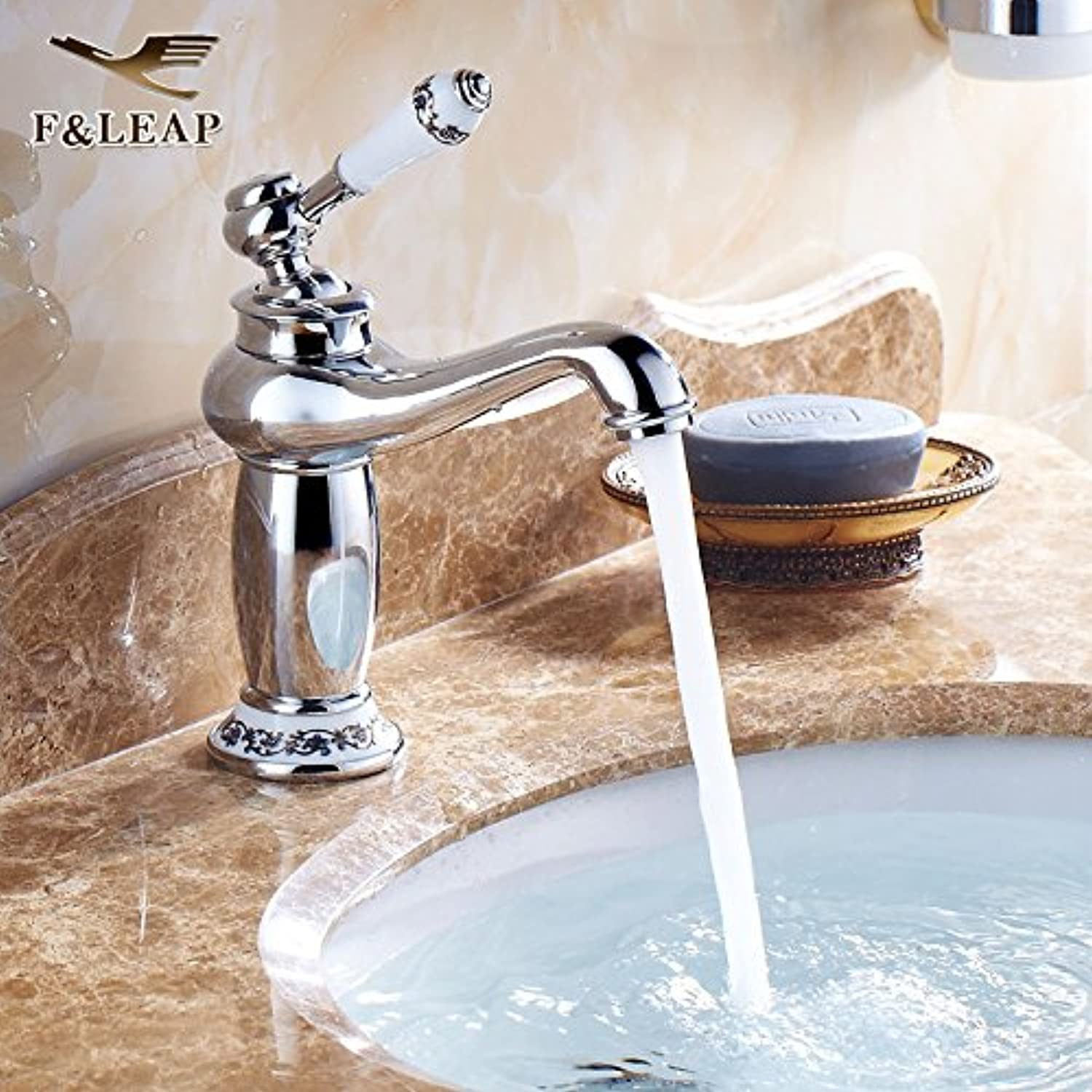 LHbox Basin Mixer Tap Bathroom Sink Faucet Continental hot and cold water taps gold pink gold bluee-tiled table top antique basin faucet, bluee-tiled God Light Fittings