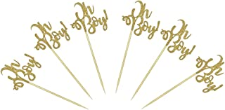 24 PCS Gold Oh Boy Cake Cupcake Toppers for Baby Boy Shower Party Supplies Decor