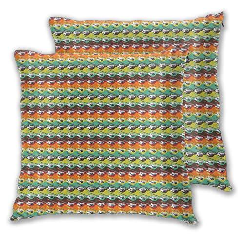 FULIYA Fundas de almohada de 2 piezas decorativas abstractas con cuerdas en bordes de color horizontales, diseño moderno, decoración del hogar cuadrada de 50 x 50 cm