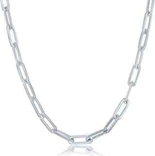 """Paperclip Chain Link Necklace Sterling Silver 14k Gold or Rhodium Plated 2.8 3.2mm or 5.5mm Width 16"""" 18"""" 20"""" 22"""" 24'' and..."""