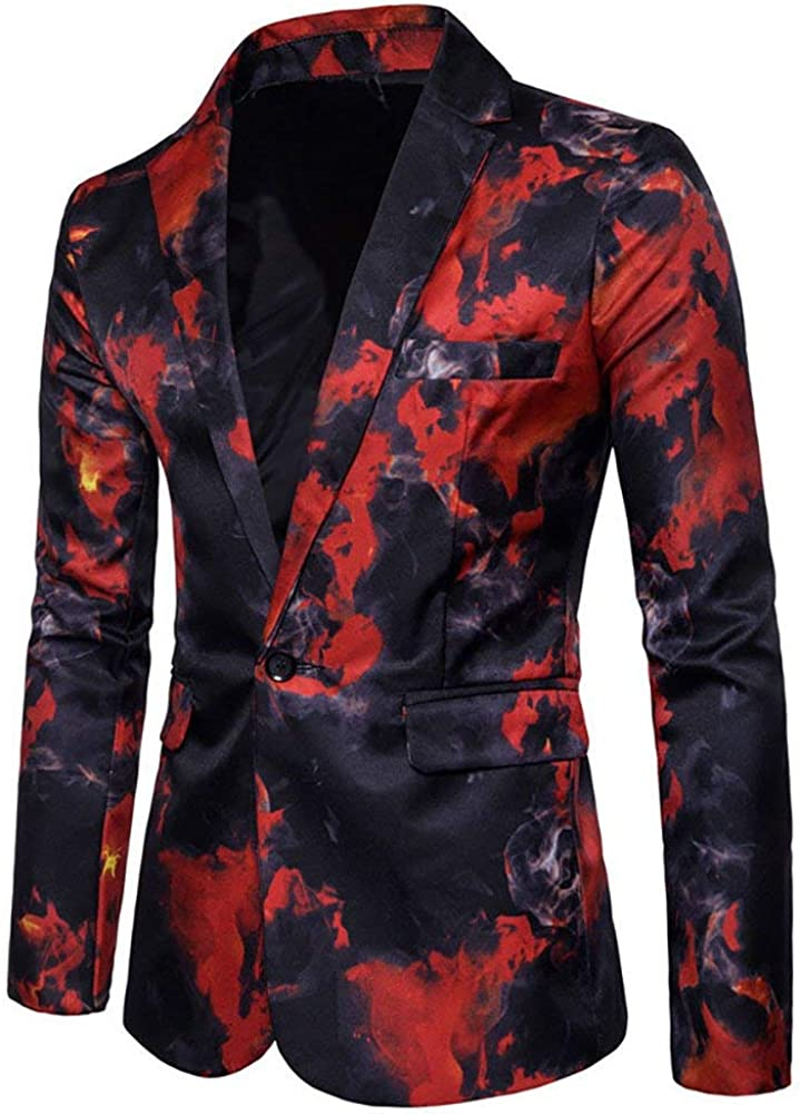 Recommendation Mens Suit Jacket Slim Fit Printed One Clearance SALE Limited time Blaze Casual Floral Button