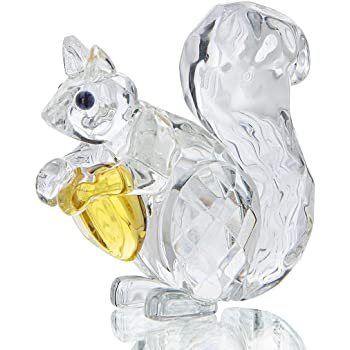 H&D Crystal Animals Squirrel Collectible Figurine Paperweight Table Centerpiece Ornament