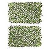 Verseo Faux Ivy Greenery Yard Decoration, Ivy Hedge Privacy Screen, Expandable (2 Pieces)