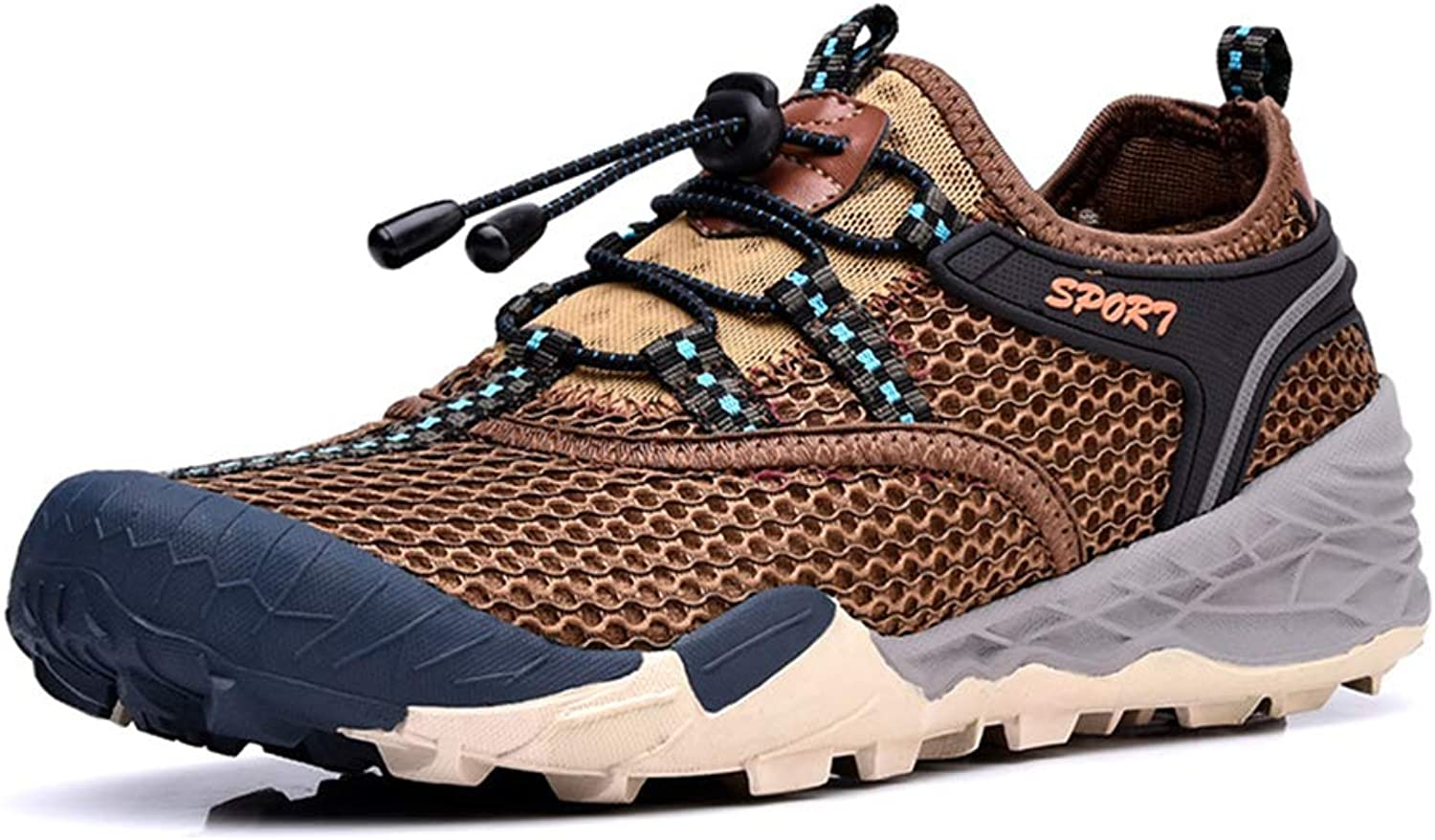 He-yanjing Men's Casual shoes, Summer New Single Layer Mesh Men's shoes Hiking shoes Waterproof Outdoor Breathable Non-slip Hiking shoes,b,41