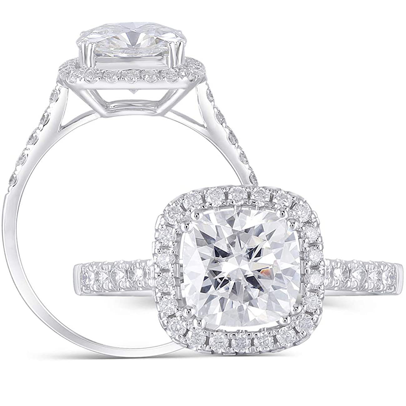 DovEggs Solid 14K White Gold Center 2ct 7.5mm H Color Cushion Cut Created Moissanite Halo Engagement Ring with Accents