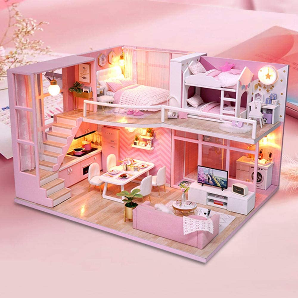 ZFCMIAO DIY Doll House Imitation Reservation Bedroom Pink Online limited product Handma Series Toys