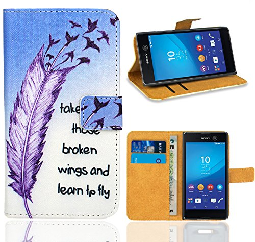 Sony Xperia M5 Handy Tasche, FoneExpert Wallet Hülle Flip Cover Hüllen Etui Ledertasche Lederhülle Premium Schutzhülle für Sony Xperia M5