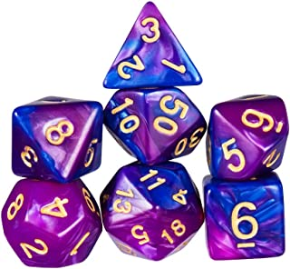 trpg ダイス 7個 多面体サイコロ 高品質収納用アイアンボックスが付き クトゥルフ神話 、TRPG カードゲーム、 知育、 教育などに適用 (青・ 紫)