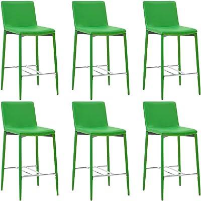 vidaXL 6X Taburetes de Cocina Cuero Sintético Hogar Jardín Salón Bar Comedor Bricolaje Decoración Diseño Estilo Mobiliario Muebles Asiento Banco Verde: Amazon.es: Hogar