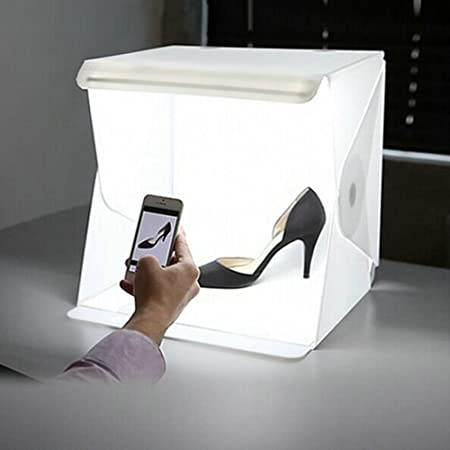 JP-川子 撮影ボックス LEDライト20PCS 22.6*23*24cm スタジオ 折り畳み 簡単組立て 持ち運び便利 ミニ撮影ボックス 小物 スタジオ 撮影 キット 折りたたみ 背景布2枚付き USB給電