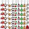 URATOT クリスマスオーナメントペンダントキーチェーン サンタクロース 雪だるま クリスマスカートゥーンキーチェーン 赤いベルベットストレージバッグ パーティー記念品 9スタイル 54個