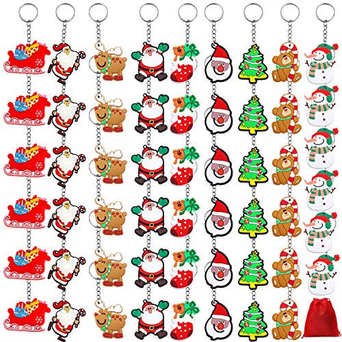 URATOT 54 Pieces Christmas Ornaments Pendant Keychains Santa Claus Snowman Christmas Cartoon Keychains with Red Velvet Storage Bag Party Favors, 9 Styles