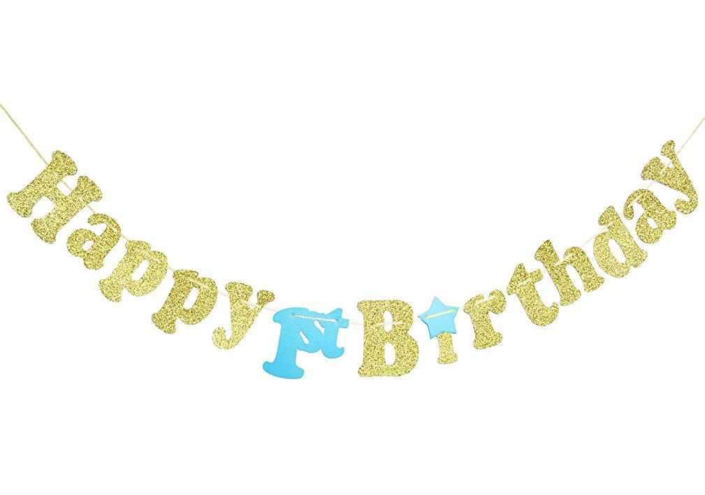 1st Birthday Party Banner Decoration Gold Glitter for Baby Boy Girl One Year Birthday Party Decor Supplies Cursive Bunting Photo Booth Props Sign (Gold & Blue)