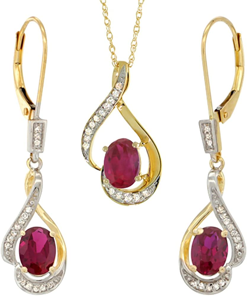 14K Yellow Gold Diamond Enhanced Genuine Ruby Lever Back Earrings & Necklace Set Oval 7x5mm, 18 inch long