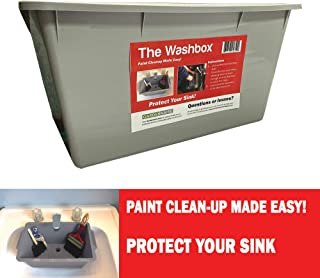 The Washbox - Paint Brush and Roller Cleaning Tray to Keep Your Sink Clean - Paint Tray for Brush Clean Up Large Insert for Sinks to Make Paint Cleanup Easy
