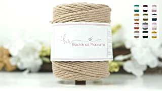 Bochiknot Macrame |100% Natural Cotton Cord, 4mm x 650 feet | Soft Rope Colored Twisted String Yarn For Craft Kits, Suppli...
