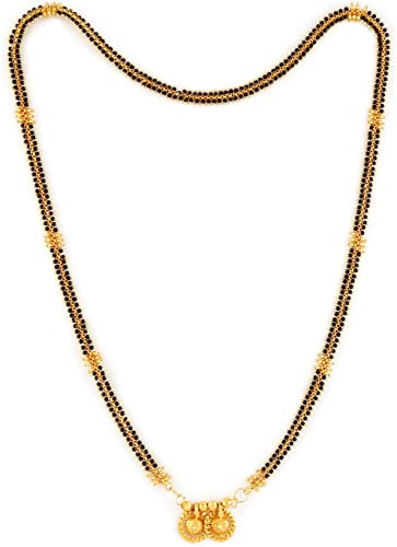 MS ME912 Traditional Temple Forming One Gram Gold Plated Stylish Pearl Meenakari Maharashtrian Stylish Long Wati Tanmaniya Copper Black Mangalsutra with Latest Design Golden Chain for Women