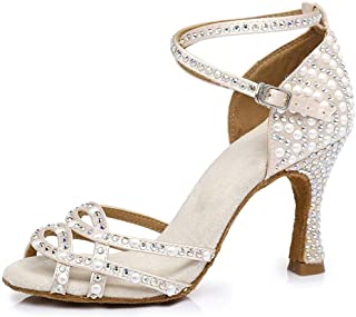 YKXLM Women &Girls Peep Toe Professional Rhinestone Ballroom Wedding Dance Shoes Latin Salsa Performance Practice Dance Sh...