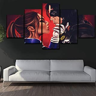 WSJXY 5 Piece Canvas Wall Art Game Pictures Home Decor 5 Panels Mass Effect Commander Shepard and Kail Leng Canvas Painting Wall Art Printing Type Poster