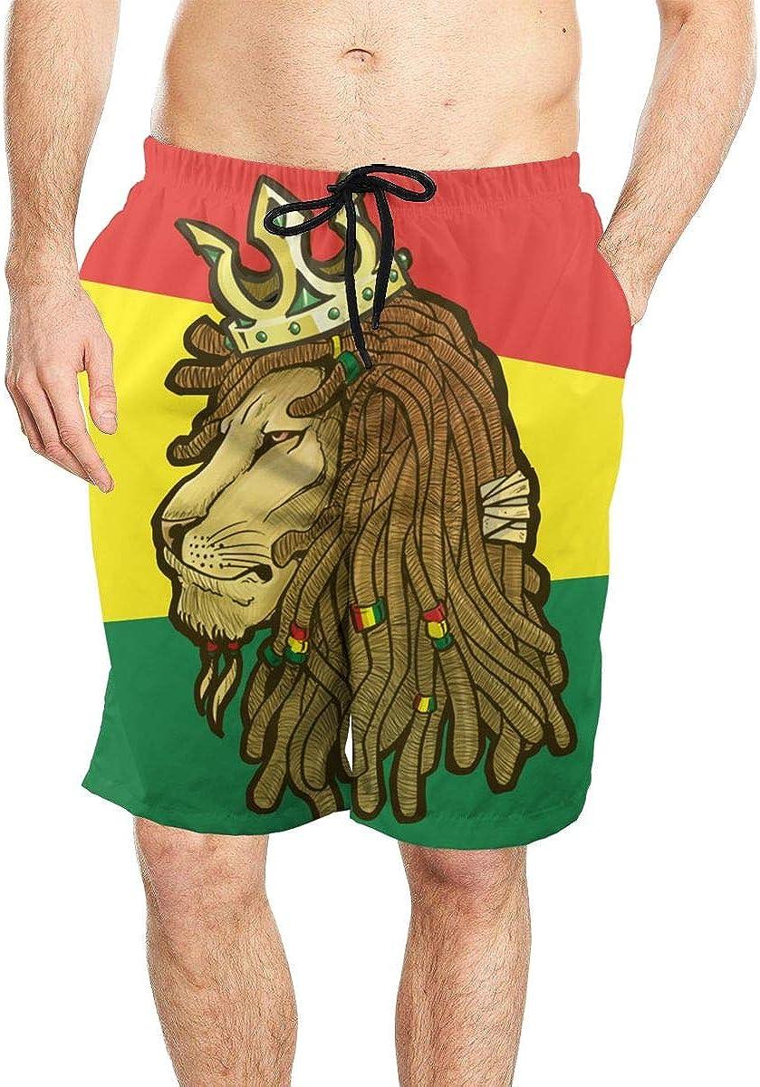 DASMUS Lion Rasta Symbol Cartoon Men Drawstring Beach Board Shorts Swim Trunks with Mesh Lining