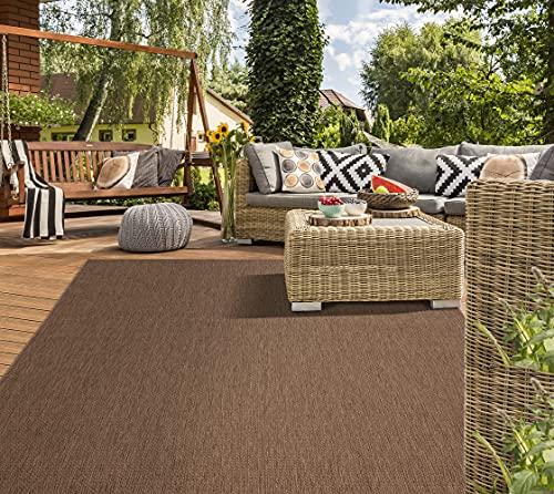 Mia´s Teppiche Lara - Alfombra de Tejido Plano para Interiores y Exteriores, Resistente a los Rayos UV y a la Intemperie, Color marrón, 120 x 170 cm, 100% Polipropileno, 120 x 170 cm