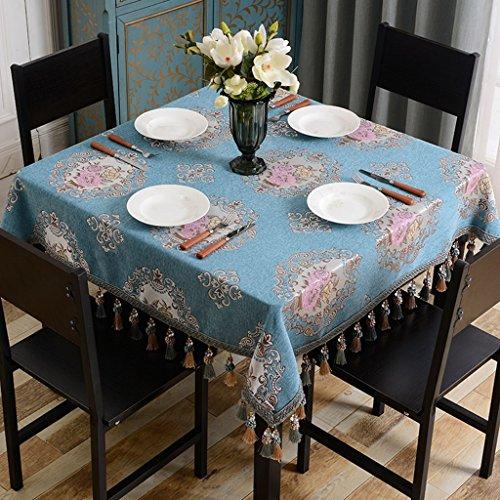 LYM # Tapis de Salon Nappe Carrée Européenne Tissu Ménage Salon Table Ouest Table Basse Tissu Couvert Petite Table Carrée Tapis (Couleur : A, Taille : 120 * 120cm)