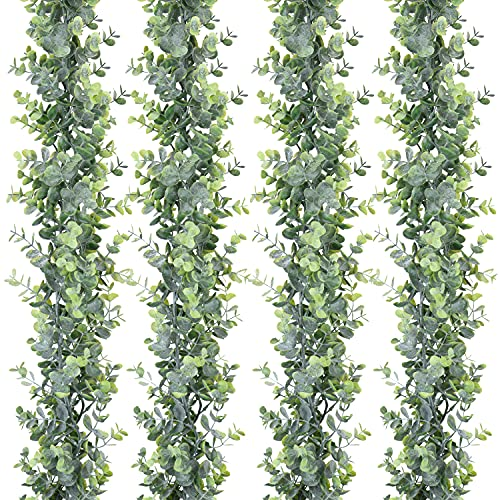 DearHouse 4 Pack Faux Eucalyptus Garland Plant, Artificial Vines Hanging Eucalyptus Leaves Greenery Garland for Wedding Backdrop Arch Wall Decor, 6 Feet/pcs UV Protected Indoor Outdoor