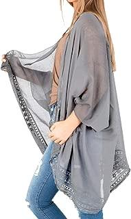 Women's 3/4 Sleeve Kimono Chiffon Loose Cardigan