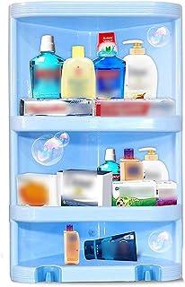 Abee Durable Plastic Corner Bathroom Multipurpose Rack/Stand with Door (Big, Random Color)