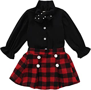 Cute Toddler Baby Girls Plaid Outfit Chiffon Princess Tops Buttons Plaid Skirts 2Pcs Xmas Clothes Set