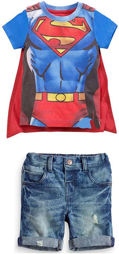 Little Big Boys Superman Print Summer Outfit Tshirt Jeans Blue 18m -7t