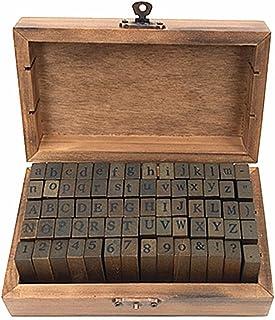 Alphabet Stamps Set,Vintage Wooden Rubber Letter Number and Symbol Diary Stamp Kit for Children DIY Scrapbooking Planner C...