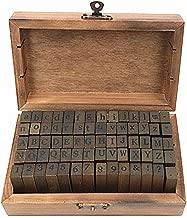 Alphabet Stamps Set,Vintage Wooden Rubber Letter Number and Symbol Diary Stamp Kit for Children DIY Scrapbooking Planner Card Making(70pcs)